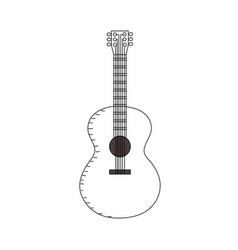 Line acoustic guitar play music instrument vector