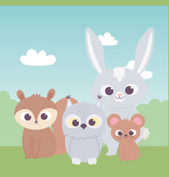 Little cute owl squirrel rabbit and mouse cartoon vector