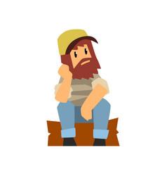 Man farmer hipster man sitting on wooden log vector