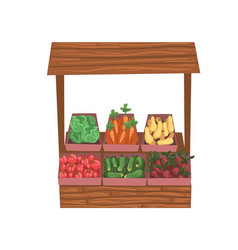 Market wooden counter with fresh ripe vegetables vector