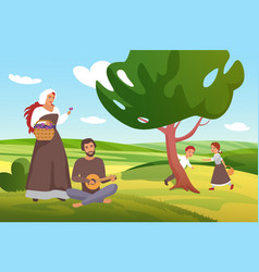medieval farmers peasants villagers family spend vector image
