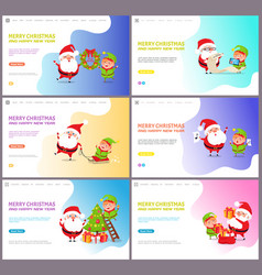 merry christmas santa claus and elf winter holiday vector image