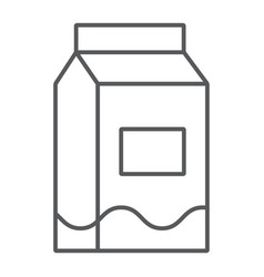 milk thin line icon drink and food milk pack vector image
