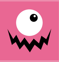 Monster head boo spooky screaming face emotion vector