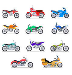 Motorcycle set motorbike and scooter bike and vector