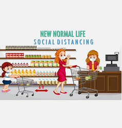 New normal life with people buying groceries vector