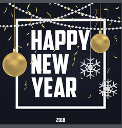 new year card with gold and silver decoration vector image