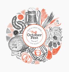 Octoberfest design template hand drawn greeting vector