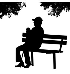 Old man silhouette sitting on a park bench vector