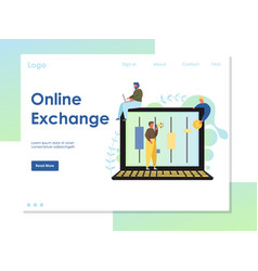 online exchange website landing page design vector image