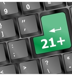only 21 plus button on keyboard vector image