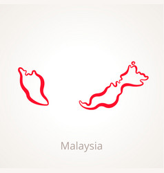 Outline map of malaysia marked with red line vector