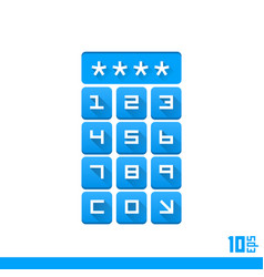 password entry buttons vector image