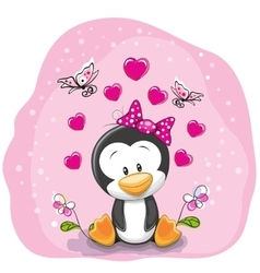 Penguin with flowers vector
