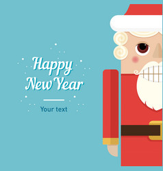 Postcard template santa claus happy new year and vector