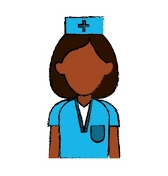 professional nurse hat uniform medical vector image