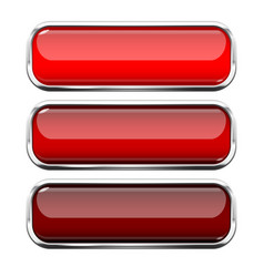 Red glass buttons web 3d shiny rectangle icons vector