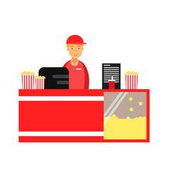 salesman selling popcorn in cinema theatre vector image