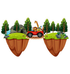 Scene with wild animals in jeep vector