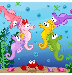 Seahorse under sea vector