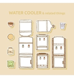 Set of bottled water coolers vector