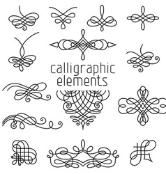set of calligraphic design elements isolated on vector image