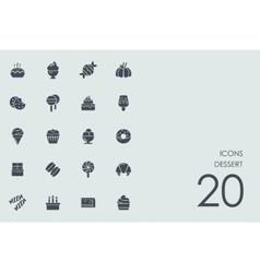 Set of dessert icons vector