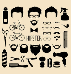 Set of dress up with men hipster haircuts vector