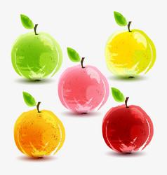 Set of fresh apples on white background vector