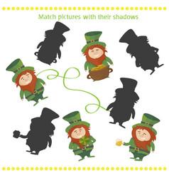 shadow matching game with happy cartoon leprechaun vector image