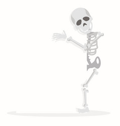 skeleton cartoon character hold a blank sign vector image