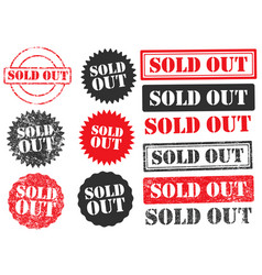 soldout grunge set black red vector image