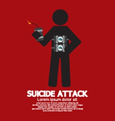 Suicide Attack With Bomb Symbol vector image