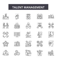 Talent management line icons signs set vector