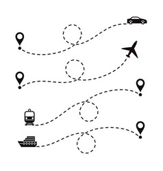Travel routes vector