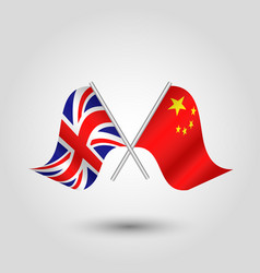 Two crossed british and chinese flags vector