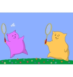 Two pillows playing badminton vector image