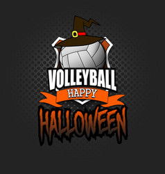 volleyball ball with witch hat and happy hallowen vector image