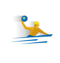 Water polo player swimming sportsman with a ball vector