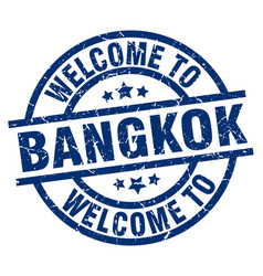 Welcome to bangkok blue stamp vector