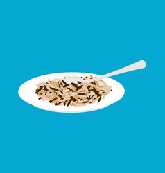 Wild rice porridge in plate and spoon isolated vector