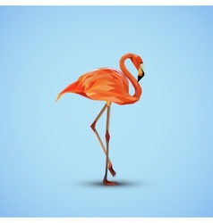a pink flamingo in low-polygonal style vector image vector image
