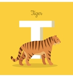 Animals Alphabet Letter - T vector image vector image