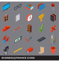 Business and finance flat isometric icons vector image