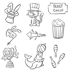 cute animal circus doodle style vector image