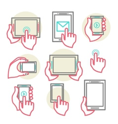 hands to hold the phone vector image