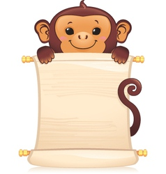 Monkey with scroll vector