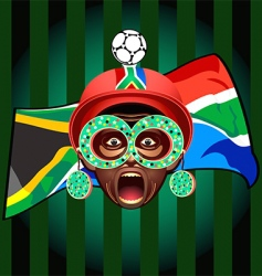 south african soccer fan vector image vector image