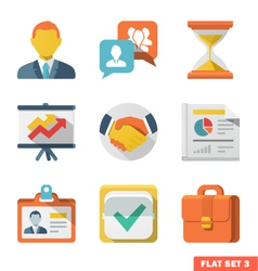 Business Flat icon set vector image vector image
