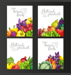 Four vertical banners with fresh fruits and vector image vector image